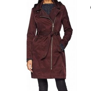 Vince Camuto Asymmetrical Belted Hooded Rain Coat